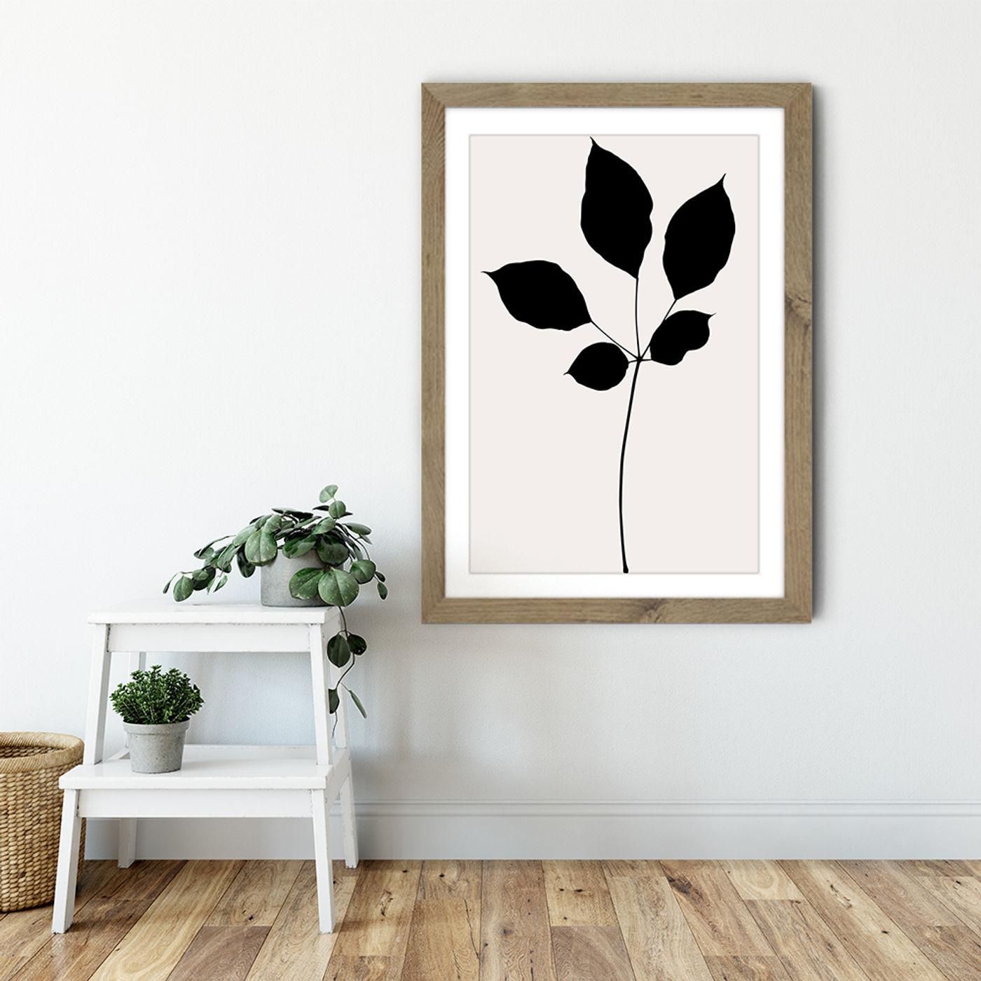 Maroon Leaf Art Print Oak Frame | Bombinate