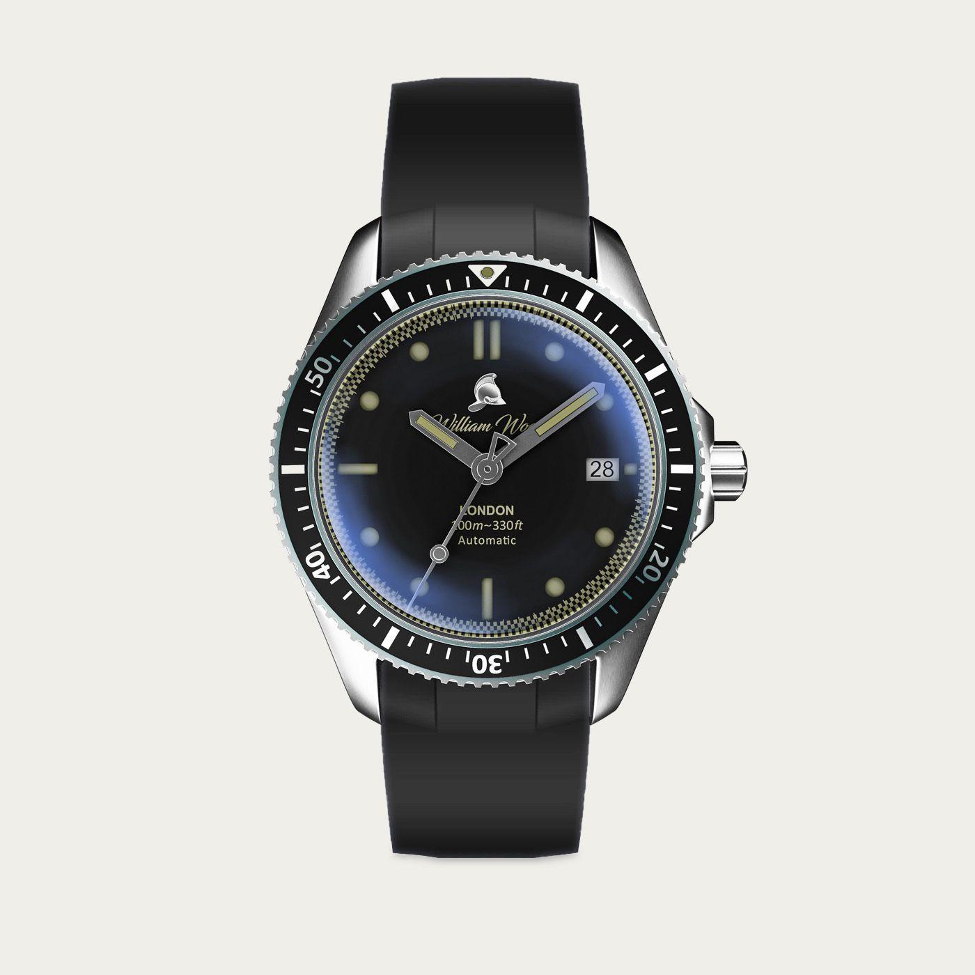 The Valiant Black Watch / Black Rubber Strap   Bombinate