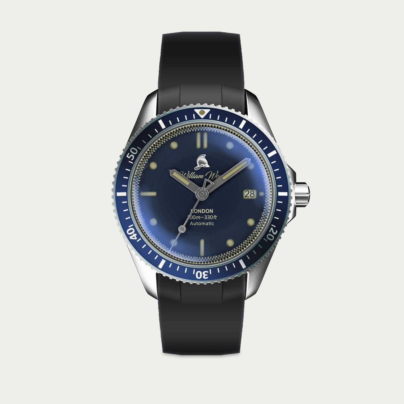 The Valiant Blue Watch / Black Rubber Strap | Bombinate