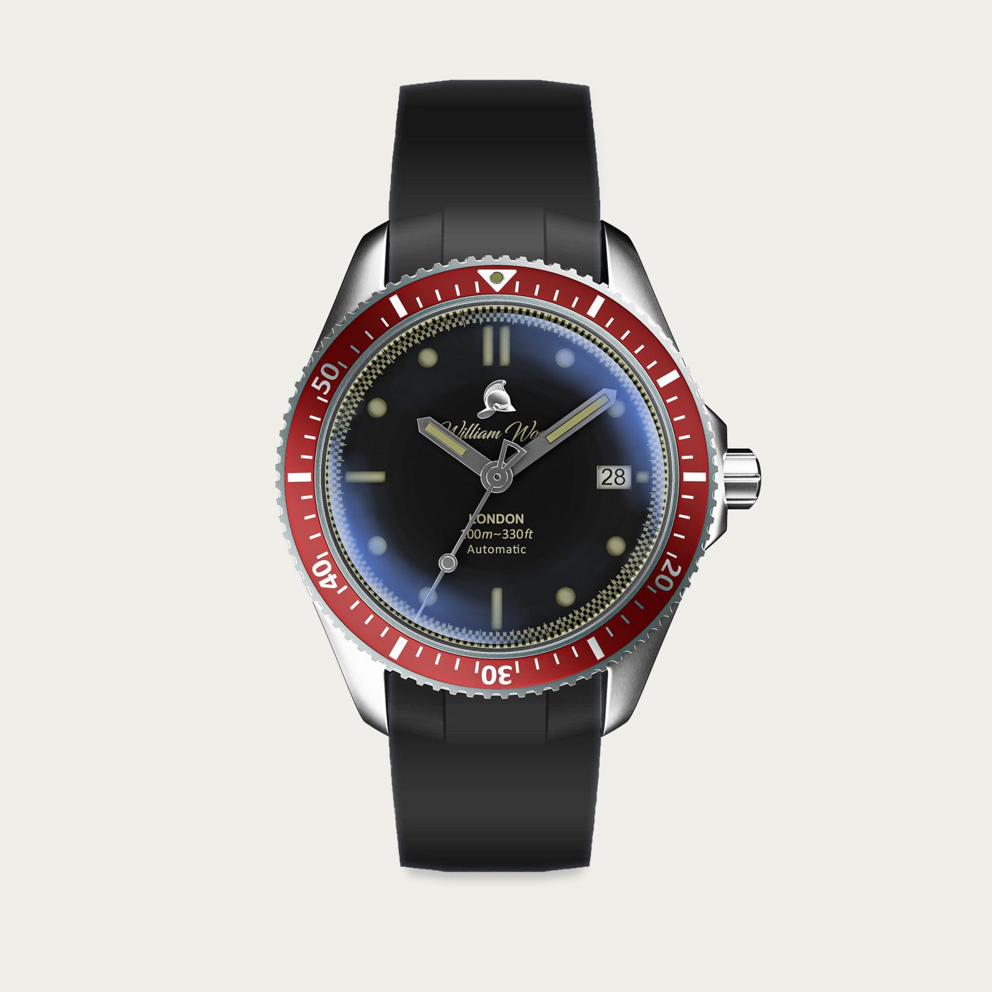 The Valiant Red Watch / Black Rubber Strap | Bombinate