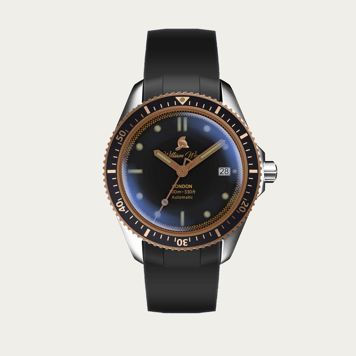 The Valiant Rose Watch / Black Rubber Strap | Bombinate