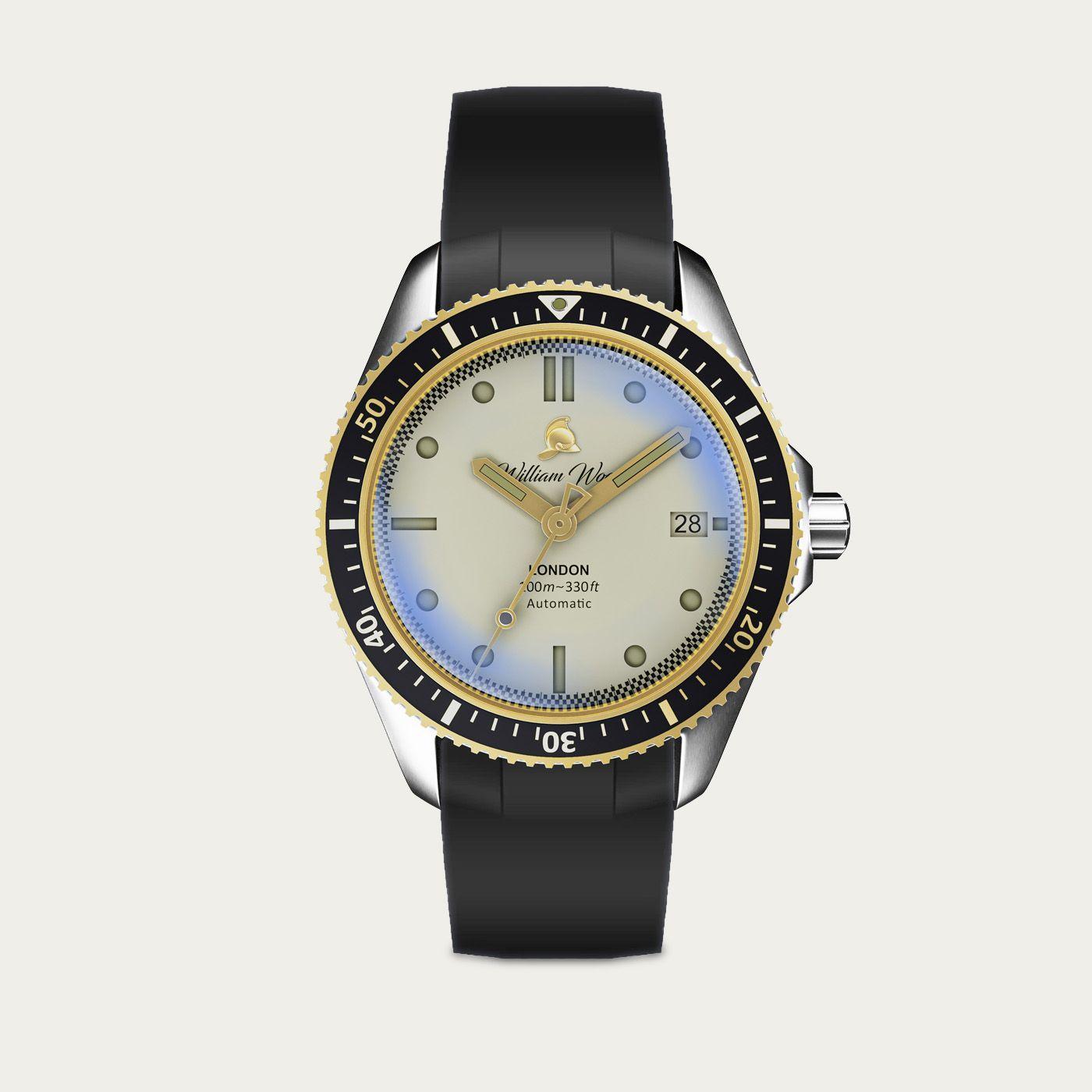 The Valiant White Watch / Black Rubber Strap | Bombinate