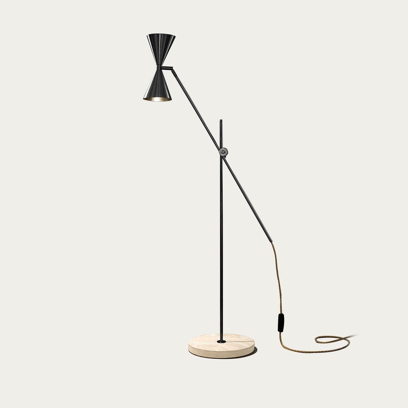 Blackended Brass/White Terrazzo Cone Double Floor Lamp - EU Plug | Bombinate