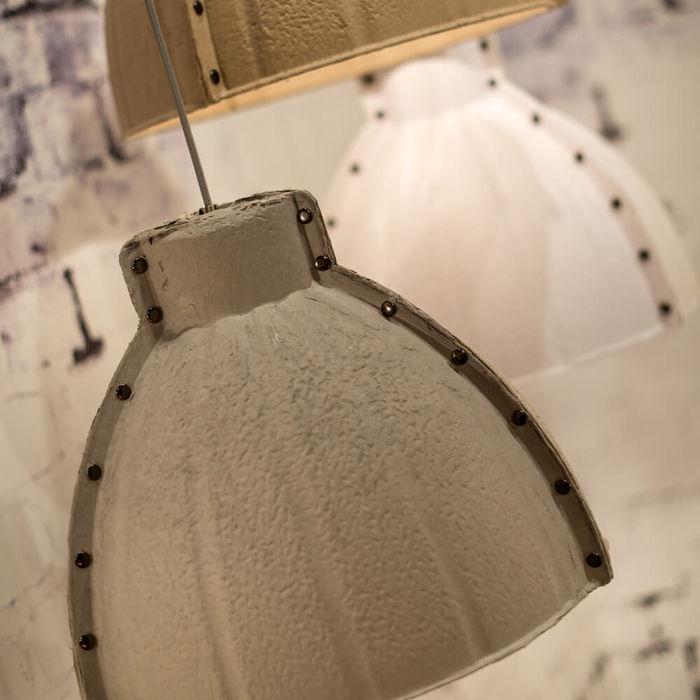 White Yellowstone Paperpulp Hanging Lamp   Bombinate