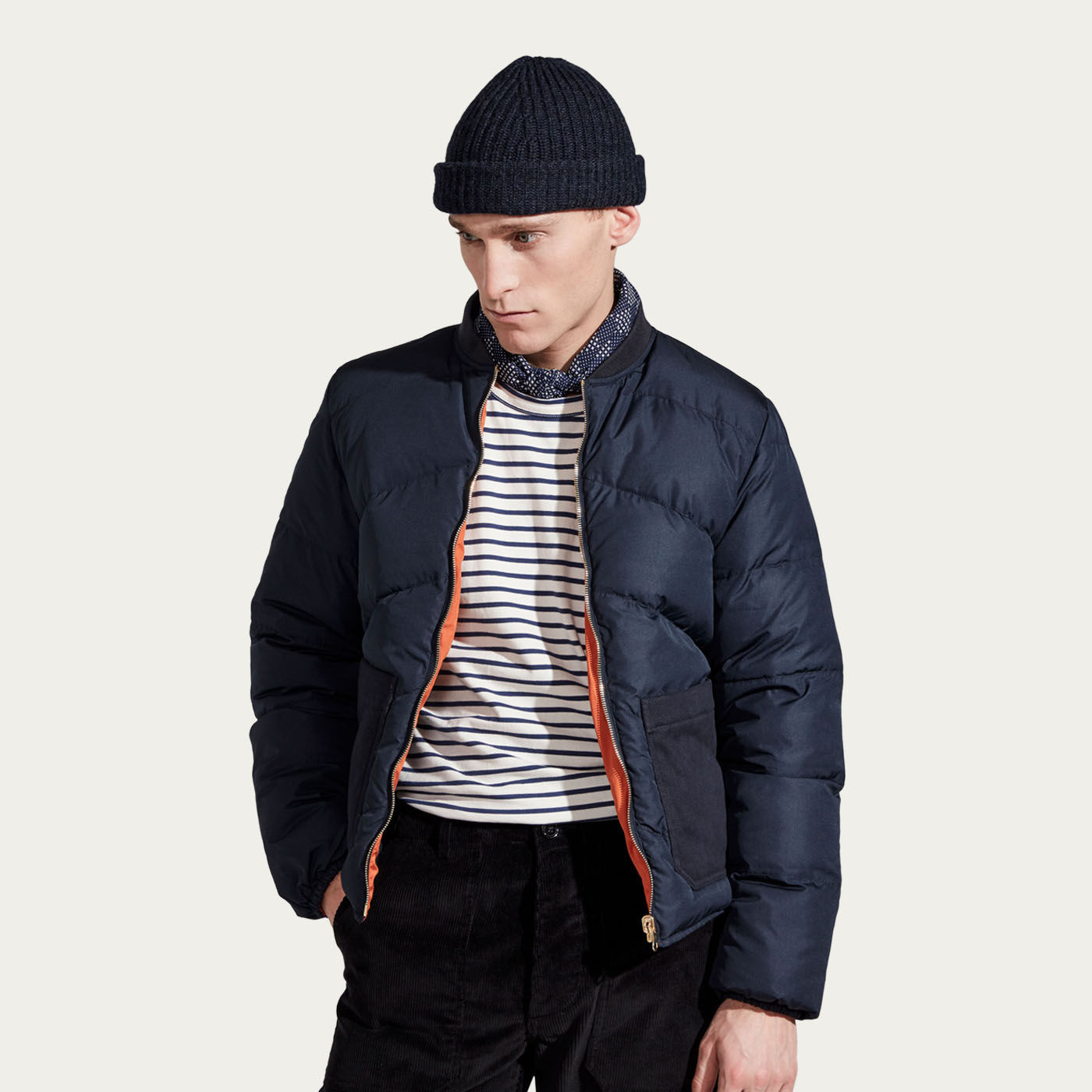 Orange & Navy Reversible  Bomber Jacket  | Bombinate