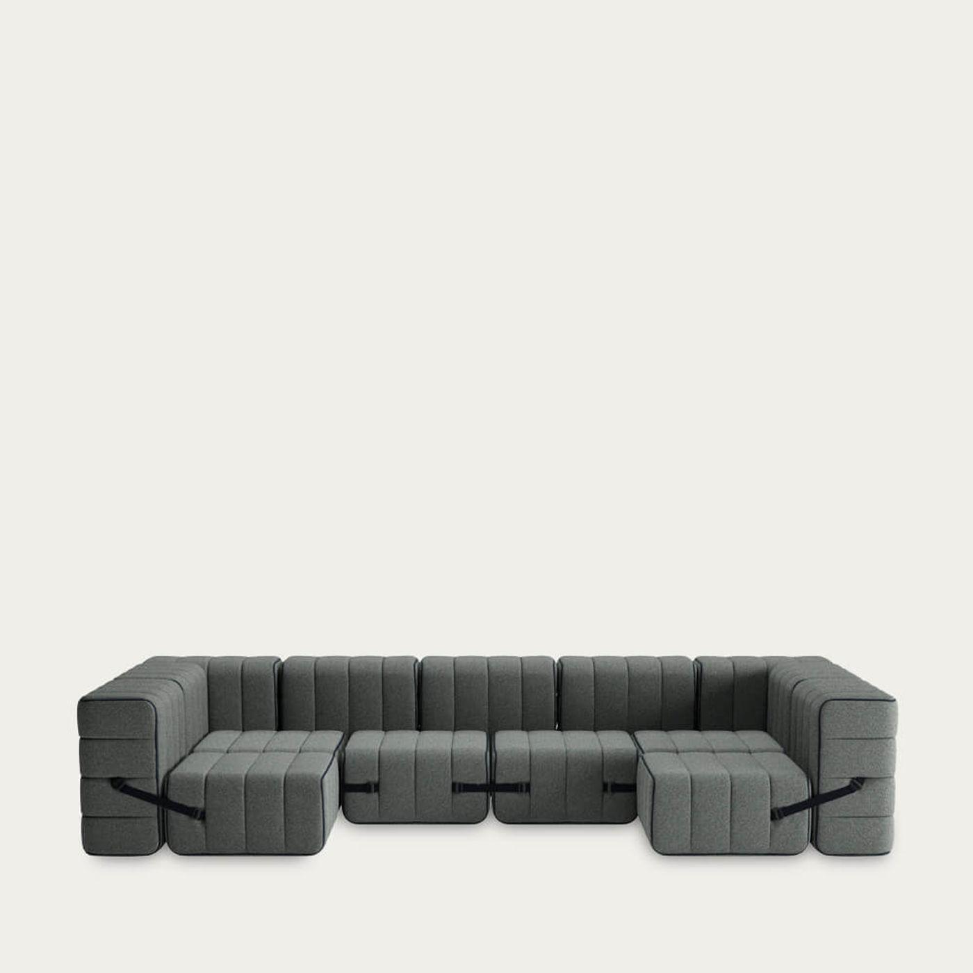 Grey Curt Sofa System 15 Modules - Sera | Bombinate
