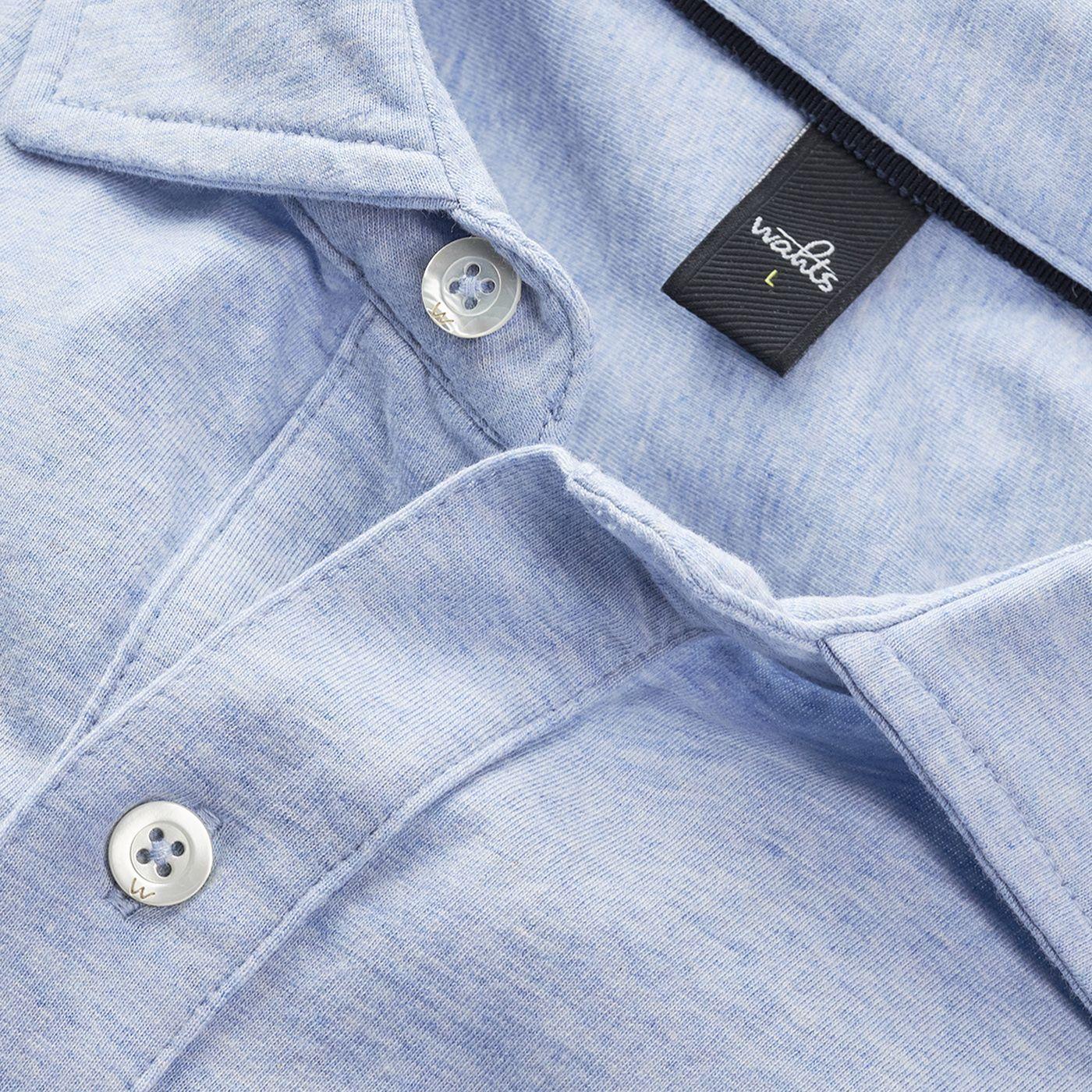 Light Blue Melange Barton Tailored Jersey Shirt   Bombinate