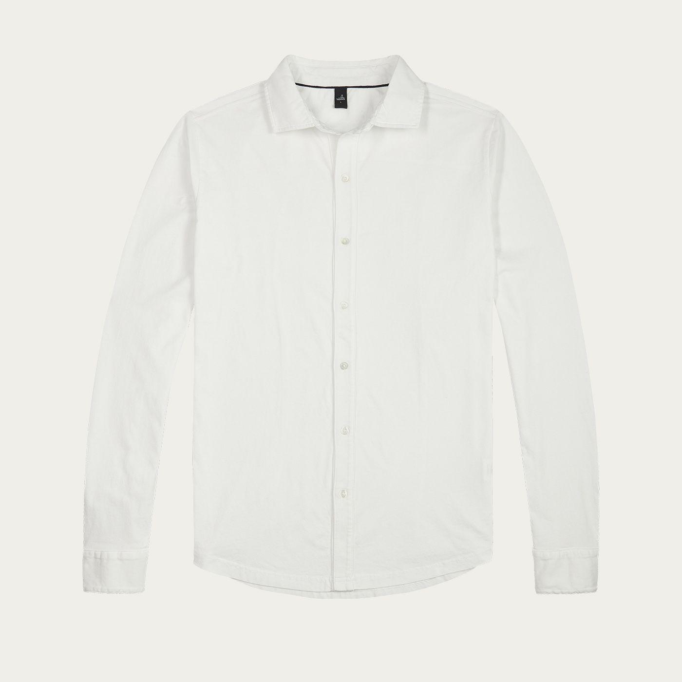 Pure White Barton Tailored Jersey Shirt | Bombinate