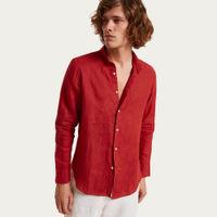 Rosso Isola Rossa Mao Collar Linen Shirt    Bombinate