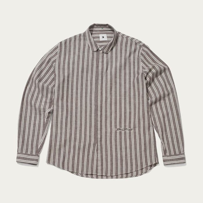 Round Collar Striped Cotton Shirt | Bombinate