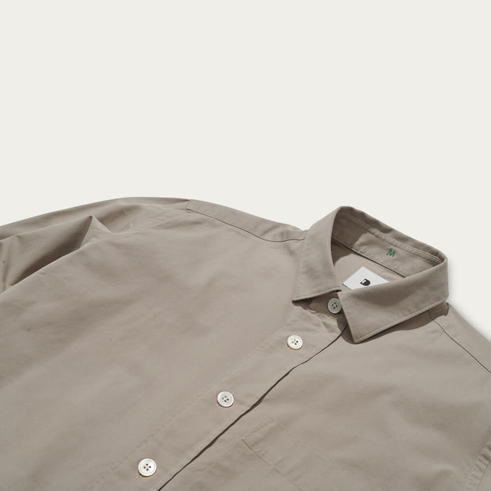 Beige Overshirt in Portuguese Cotton Blend | Bombinate