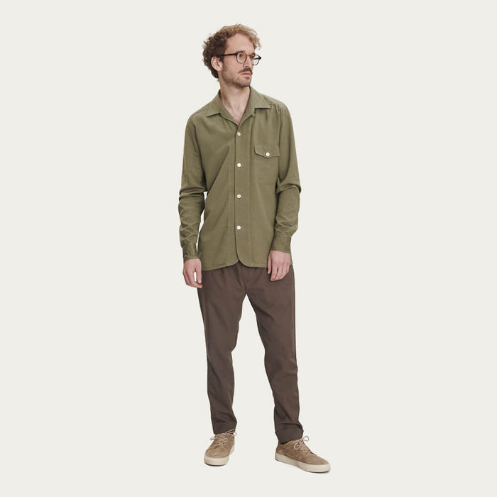Olive Overshirt in Rich Lyocell | Bombinate