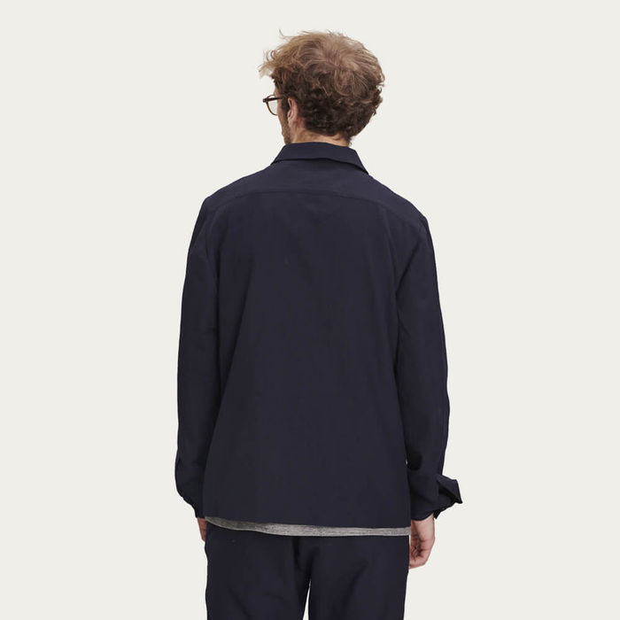 Navy Merino Wool Light Jacket | Bombinate