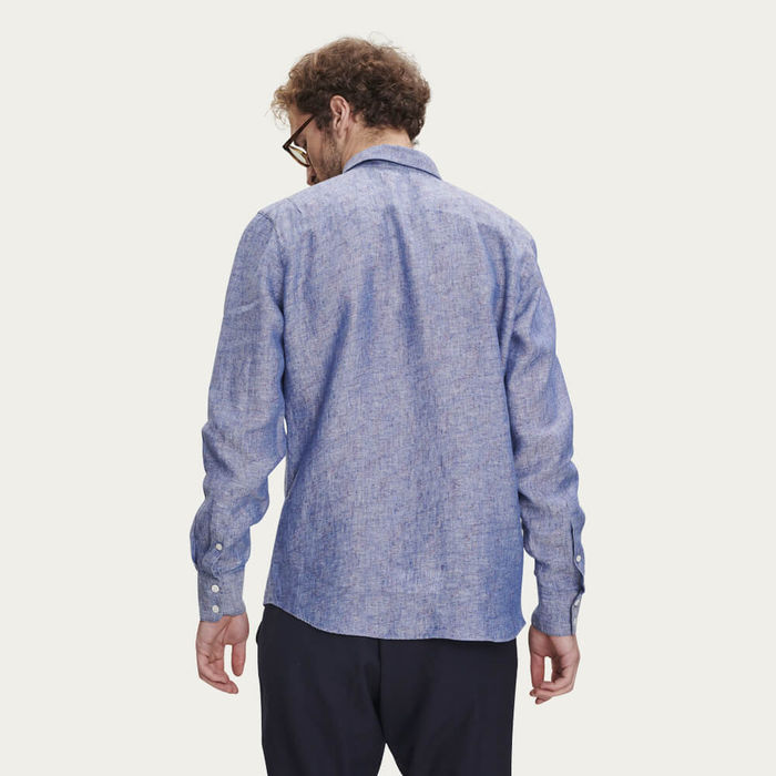 Feel Good Speckled Blue Linen Shirt | Bombinate
