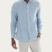 White/Blue Striped Peter Linen Shirt   Bombinate