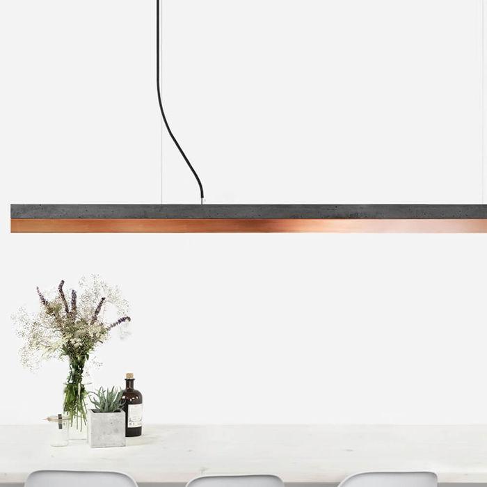 Dark Grey Concrete & Copper Pendant Light | Bombinate