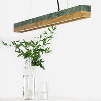 Green Guatemala Marble & Oak Wood Pendant Light | Bombinate