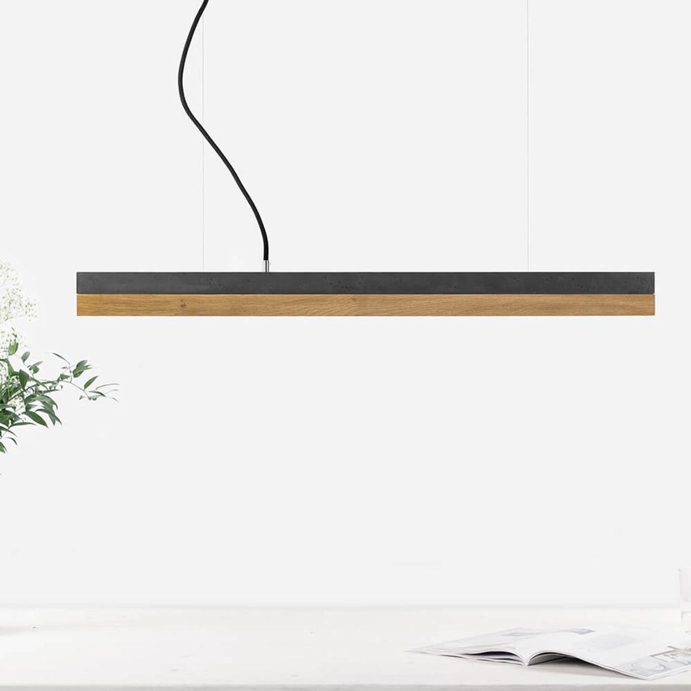 Dark Grey Concrete & Oak Wood Pendant Light   Bombinate