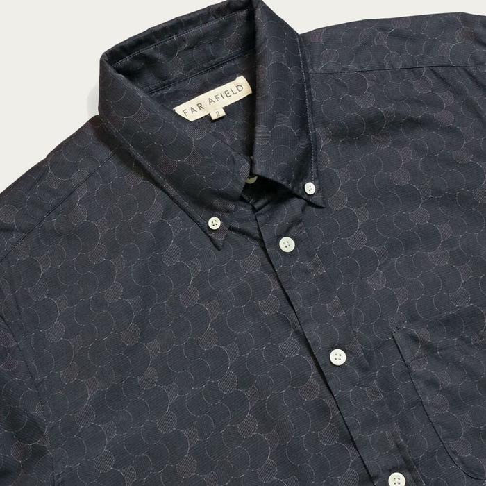Dark Navy Layers Print Mod Button Down Long Sleeve Shirt | Bombinate