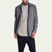 Grey flannel overshirt | Bombinate