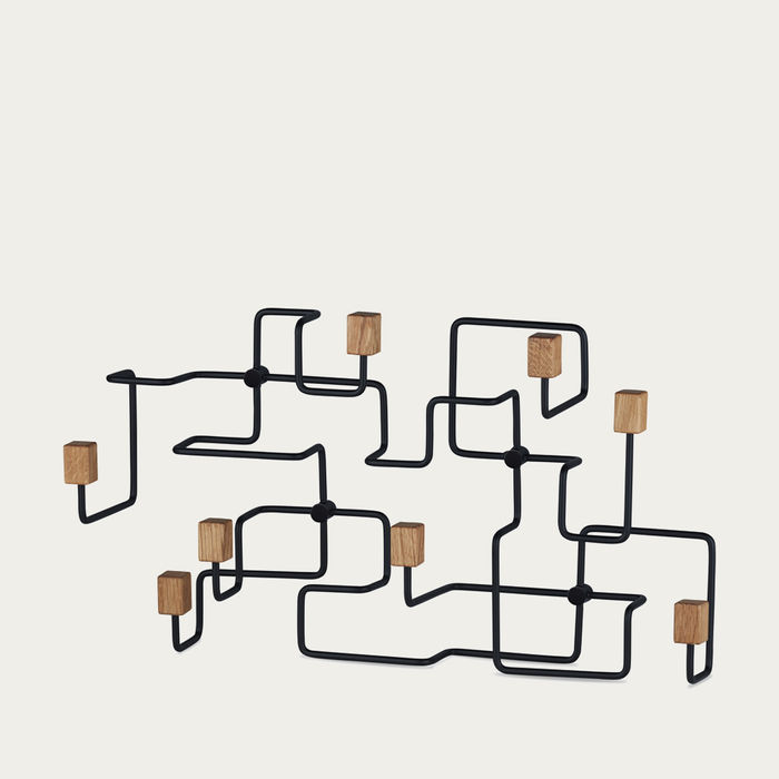 Oak Black Underground Coat Rack  | Bombinate