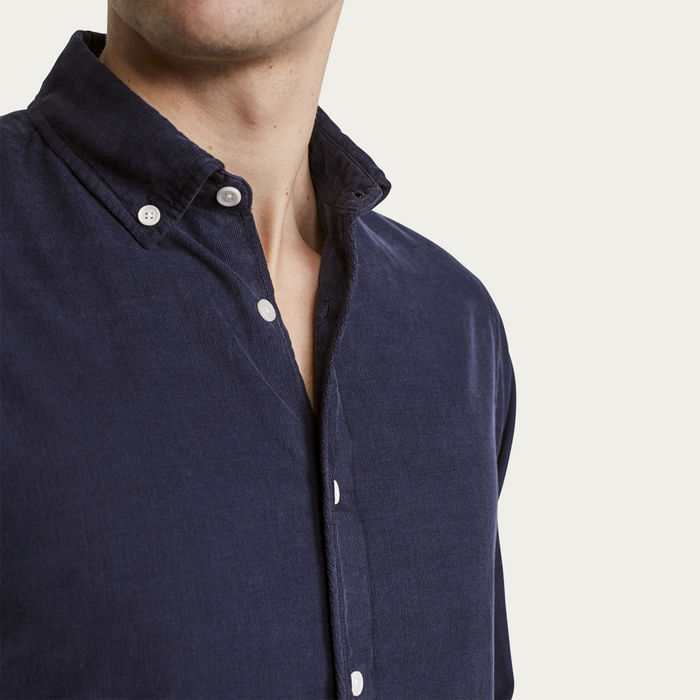 Deep Ocean BB Cord Bampton Casual Long Sleeve Shirt  | Bombinate