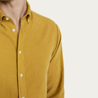 Pale Yellow Cord Bampton Casual Long Sleeve Shirt  | Bombinate