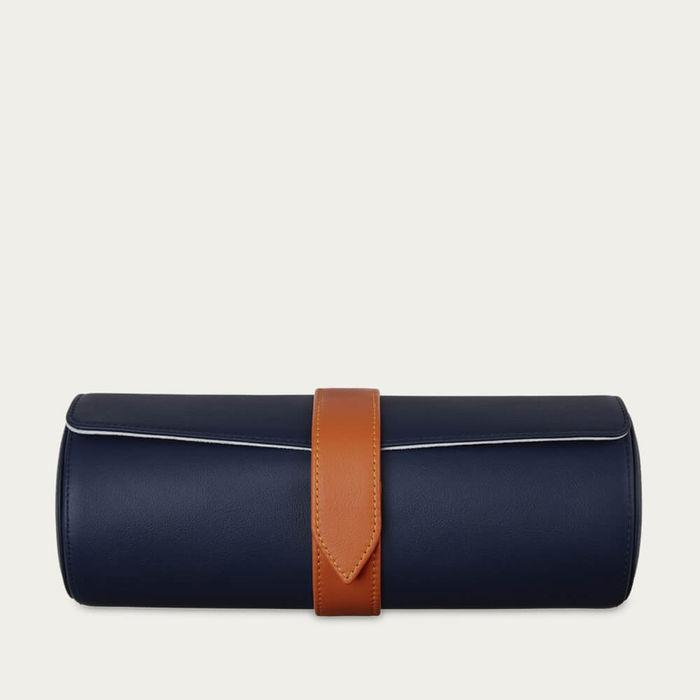 Sapphire Blue & Pale Grey Sanderson Leather Watch Roll & Stud Box Gift Set   Bombinate