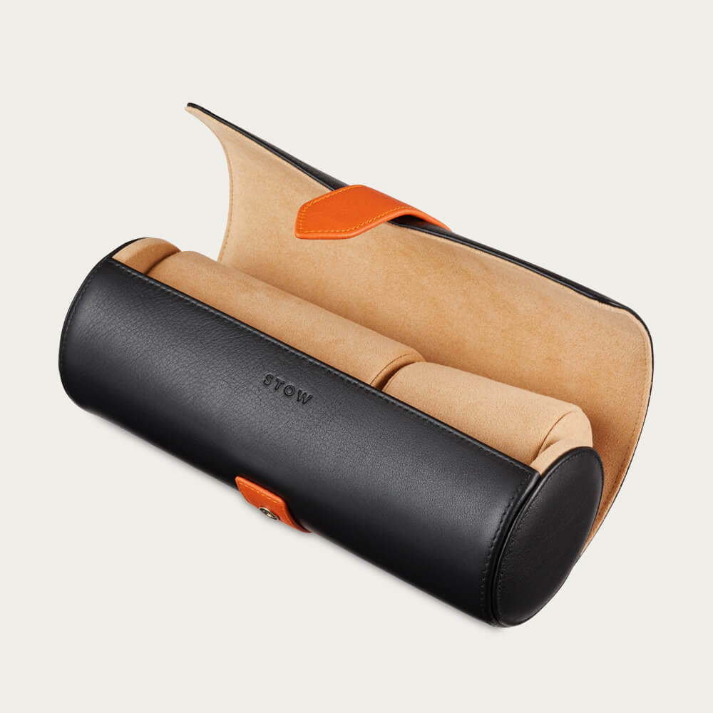 Jet & Soft Sand Sanderson Leather Watch Roll | Bombinate