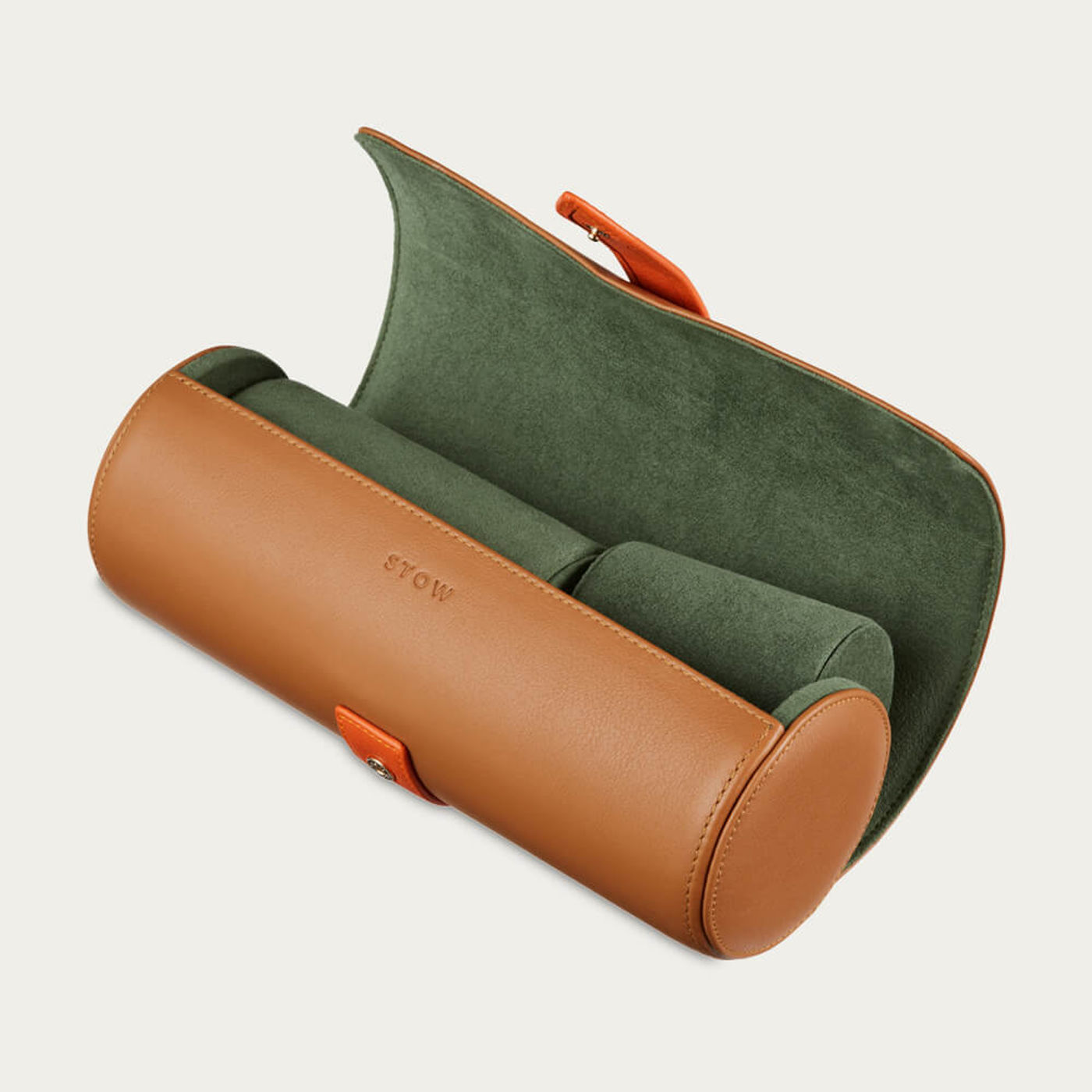 Sahara Tan & Eucalyptus Sanderson Leather Watch Roll | Bombinate