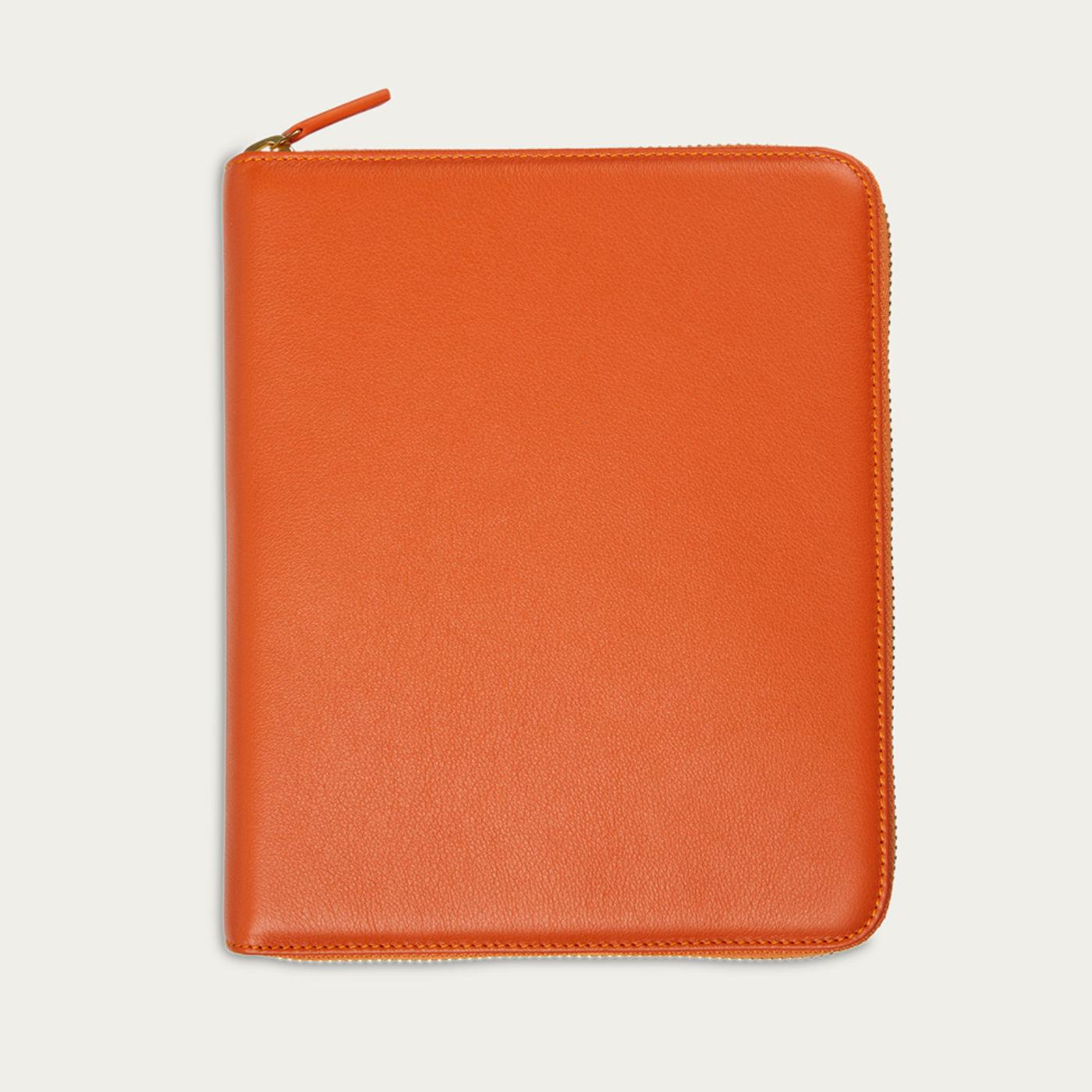 Amber Orange & Dusty Aqua The First Class Leather Tech Case   Bombinate