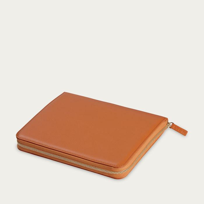 Amber Orange & Dusty Aqua The First Class Leather Tech Case | Bombinate