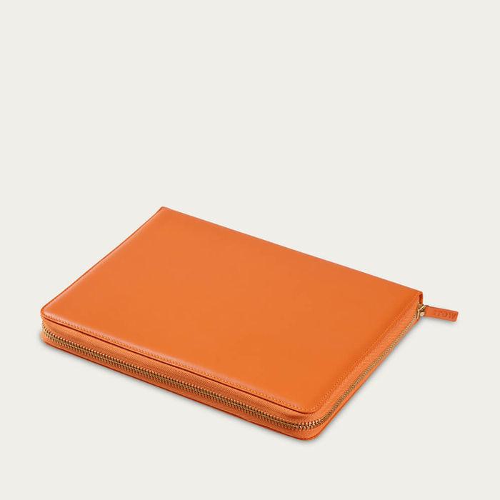 Amber Orange & Dusty Aqua The World Class Leather Tech Case | Bombinate