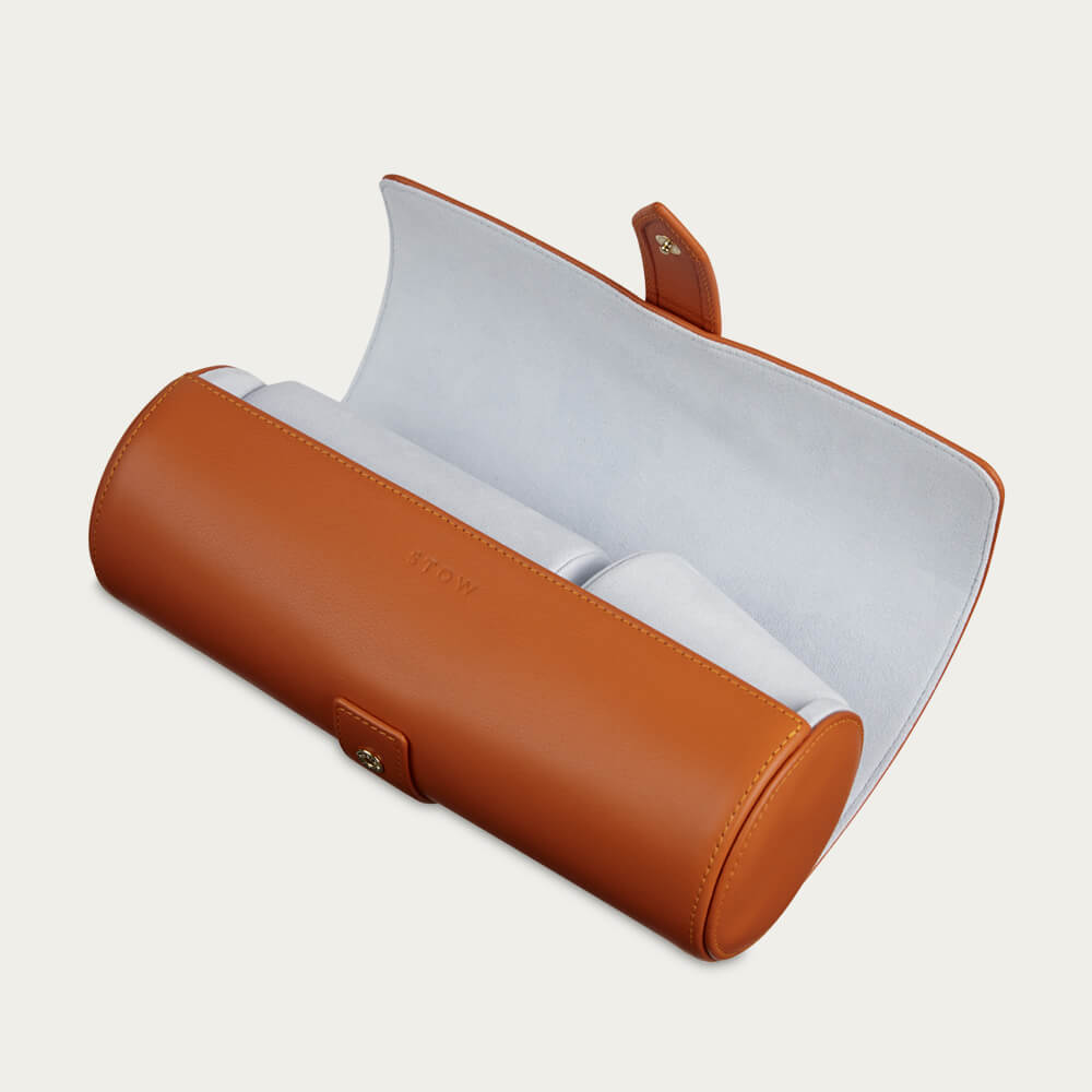 Amber Orange & Dusty Aqua Sanderson Leather Watch Roll   Bombinate