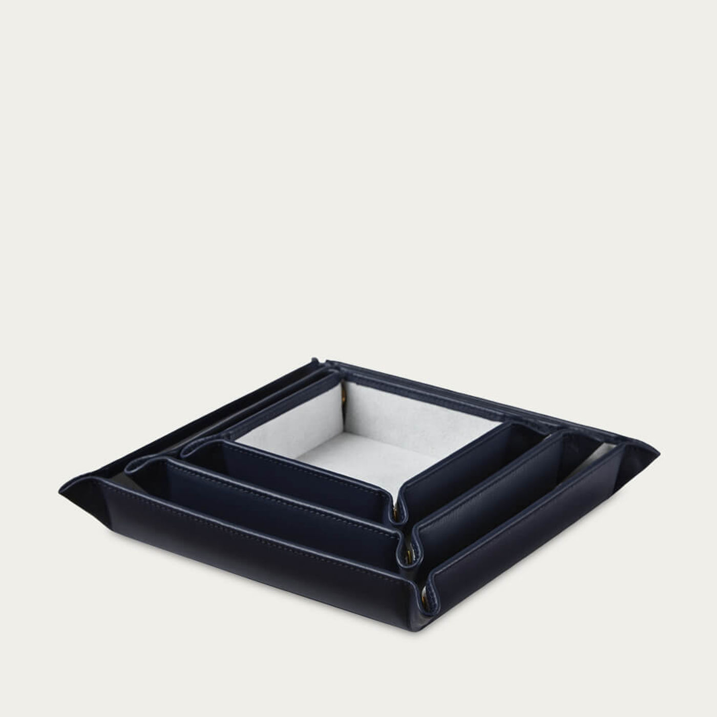 Sapphire Blue & Pale Grey Leather Valet Tray Gift Set | Bombinate