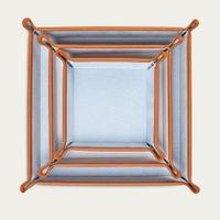 Amber Orange & Dusty Aqua Leather Valet Tray Gift Set | Bombinate