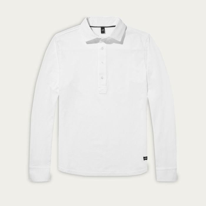 Pure White Stone Longsleeve Pique Poloshirt   Bombinate