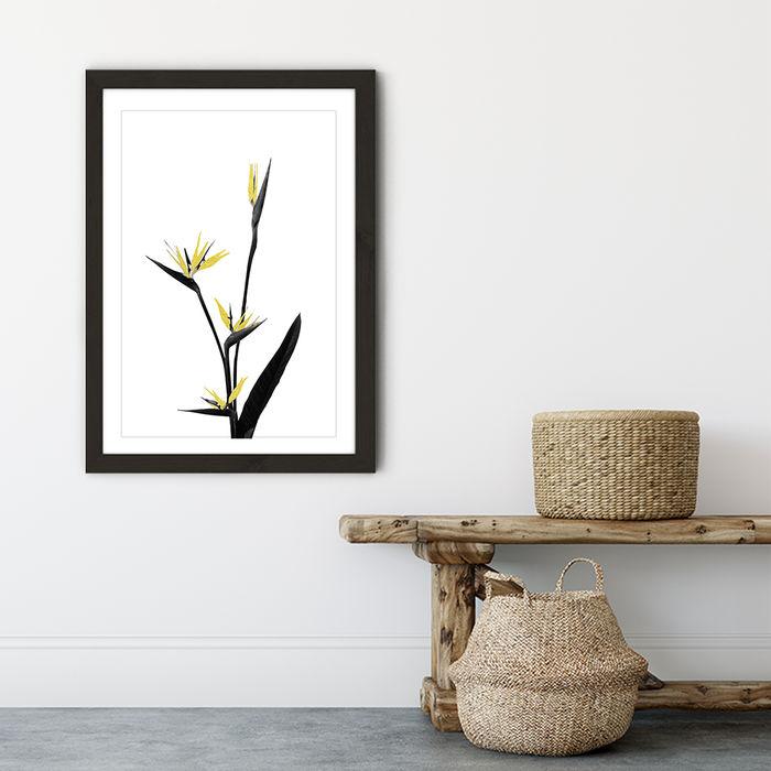 Flower Minimal Black and Gold 5 Art Print Black Frame | Bombinate