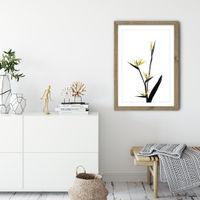 Flower Minimal Black and Gold 5 Art Print Oak Frame | Bombinate