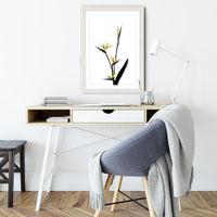 Flower Minimal Black and Gold 5 Art Print White Frame   Bombinate