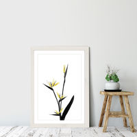 Flower Minimal Black and Gold 5 Art Print White Frame | Bombinate