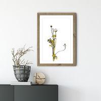 Flower Minimal Black and Gold 8 Art Print Oak Frame   Bombinate