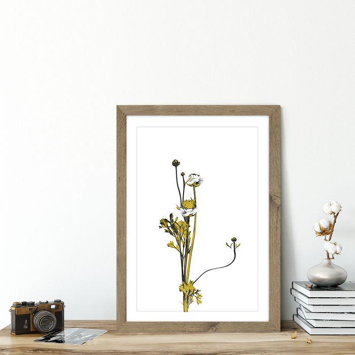 Flower Minimal Black and Gold 8 Art Print Oak Frame | Bombinate