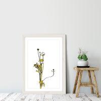 Flower Minimal Black and Gold 8 Art Print White Frame | Bombinate