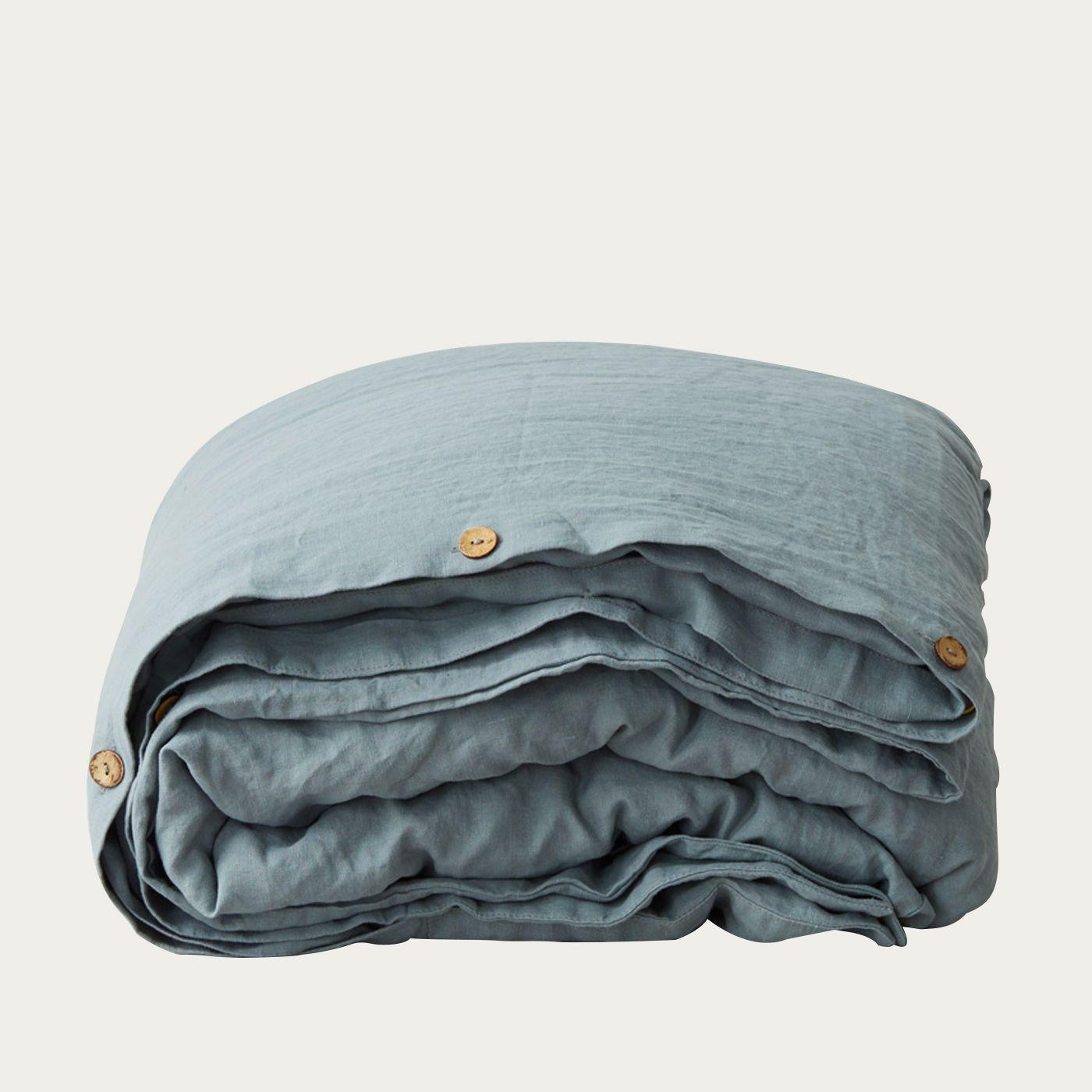 Blue Fog Washed Linen Duvet Cover   Bombinate