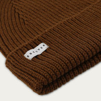 Tobacco Ribbed Merino Beanie | Bombinate