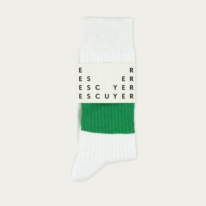 White  Green Melange Band Socks | Bombinate