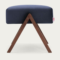 Navy Blue Retrostar Footstool Velvet Line | Bombinate