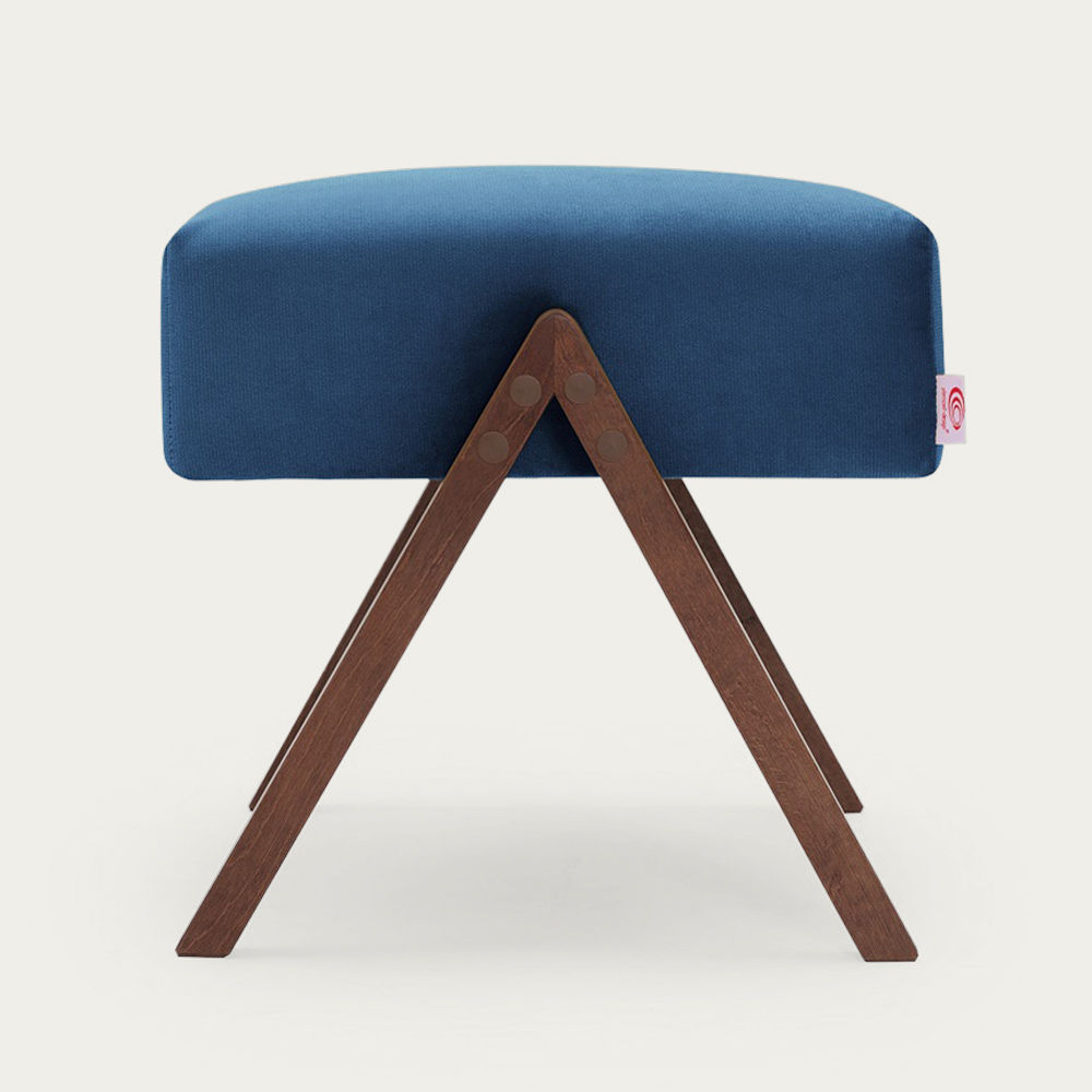 Royal Blue Retrostar Footstool Velvet Line | Bombinate