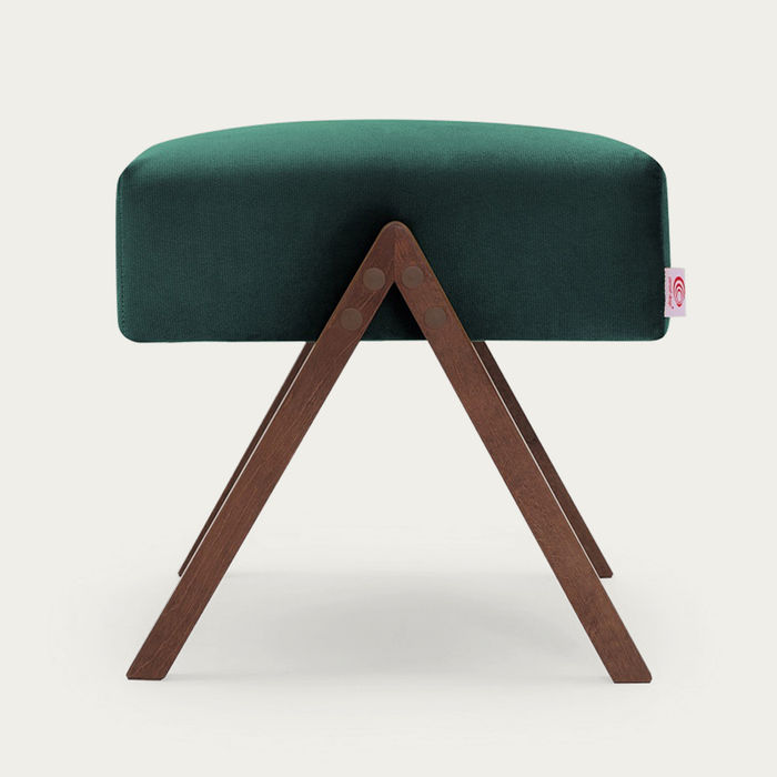 Hunter Green Retrostar Footstool Velvet Line | Bombinate